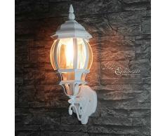 Wandleuchte außen rustikal weiß 1x E27 bis 60W 230V IP23 dekorative Leuchte für Hauseingang oder Einfahrt Laterne nostalgisch Hof Beleuchtung