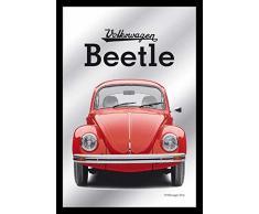 empireposter - Volkswagen - Beetle/Käfer - Größe (cm), ca. 20x30 - Bedruckter Spiegel, NEU - Beschreibung: - Bedruckter Wandspiegel mit schwarzem Kunststoffrahmen in Holzoptik -