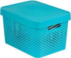 Curver 04742-X34-00 Aufbewahrungsbox Infinity Punkte mit Deckel 17L in Plastik 36.3 x 27 x 22.2 cm, blau