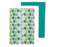 Premier Housewares Satz von 3 Geschirrtücher, grünes Blatt, 100% Baumwolle