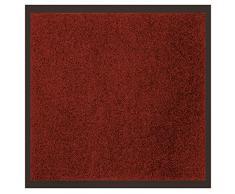 Déco Tapis 1740297 Tapis Anti - 1740297, Schmutzfangmatte Rechteck, 60 X 80 cm, Uni, Eingangsmatte, Rot