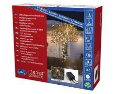 Konstsmide 3615-800 Micro LED Lichterkette / für Außen (IP44) / VDE geprüft / 24V Außentrafo / mit 8 Funktionen, Steuergerät und Memoryfunktion /120 bernsteinfarbenen Dioden / schwarzes Kabel