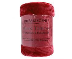 Dreamscene Kunstpelz Fleece Überwurf über Sofa Bett Soft, schwarz, 125 x 150 cm-p, Polyester, rot, Single - 125 x 150 cm