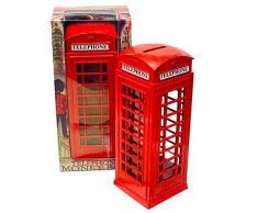 KAV rote Telefonzelle Geldmünze Ersatzgeld Spardose London Street Bank Britain Metall Souvenir Geschenk Model Box Groß Gusseisen 8 x 5,5 x 14 cm