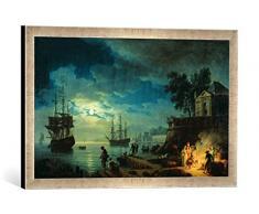 Gerahmtes Bild von Claude Joseph Vernet Night: A Port in The Moonlight, 1748, Kunstdruck im hochwertigen handgefertigten Bilder-Rahmen, 60x40 cm, Silber Raya