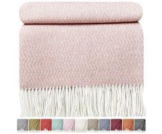 STTS International Wohndecke Wolldecke Decke sehr weiches Plaid Kuscheldecke 140 x 200 cm Wolle Davos (Rosa)