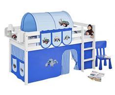 Lilokids JELLE2054KW-TRECKER-BLAU Spielbett Jelle Trecker, Hochbett mit Vorhang Kinderbett, Holz, blau, 208 x 98 x 113 cm