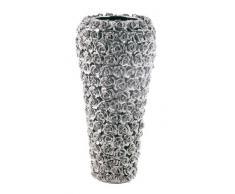 Vase Rose Multi Chrom Big, große, dekorative Blumenvasen, hohe moderne Bodenvase, silber (H/B/T) 45x21,5x21,5cm
