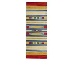 Jute & Co Kelim Teppich aus hochwertigem Baumwolle, handgewebt, Mehrfarbig, 60 x 160 cm