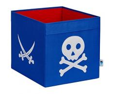 STORE.IT 671909 große Ordnungsbox offen, Aufbewahrungsbox, passend für Kallax, Expedit, Polyester, 38 x 32 x 32 cm, Pirat, blau und rot