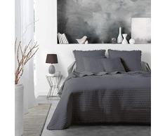 Douceur dIntérieur Dorinette Tagesdecke für Einzelbett, matt, Weiß, 180 x 220 cm, anthrazit, 240 x 260 cm