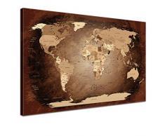 """LanaKK - Weltkarte Leinwandbild mit Korkrückwand zum pinnen der Reiseziele – """"Worldmap Antik """" - englisch - Kunstdruck-Pinnwand in braun, einteilig & fertig gerahmt in 100 x 70 cm"""
