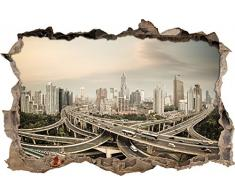 Pixxprint 3D_WD_S2469_92x62 riesige Autobahn in Shang Hai Wanddurchbruch 3D Wandtattoo, Vinyl, bunt, 92 x 62 x 0,02 cm