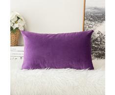 MIULEE 2 Stück, SAMT Weiches Solide Dekorativen Überwurf Kissenbezüge Set, quadratisch Kissen für Sofa Schlafzimmer Auto 12x20 Samtviolett