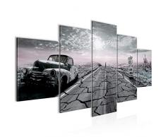Bilder Auto Route 66 Wandbild 200 x 100 cm Vlies - Leinwand Bild XXL Format Wandbilder Wohnzimmer Wohnung Deko Kunstdrucke Rosa Grau 5 Teilig - MADE IN GERMANY - Fertig zum Aufhängen 600351c
