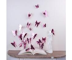 Walplus Wandsticker Rose Gold 3D Schmetterlinge Abnehmbare selbstklebend Wandbild Kunst Abziehbilder Vinyl Home Dekoration DIY Living Schlafzimmer Décor Tapete Kinder Zimmer Geschenk