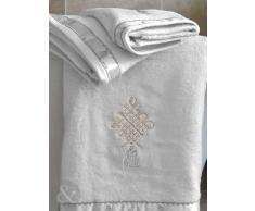 Luxus Baumwollhandtücher mit Stickerei 450g/m², extraweiches Handtuchset für das Badezimmer, 100 % Baumwolle, weiß, Badetuch 70 x 125 cm