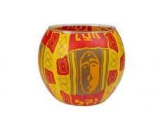 Windlicht Glas Cup Teelichthalter Kerzenhalter AFRICAN ART MASC Größe 9 x 11 cm als Tischdekoration …