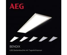 Bendix LED Panel Deckenleuchte mit integriertem Tageslichtsensor, 120x30cm, 42 Watt, 3900 Lumen, 3000 Kelvin aus Metall / Kunststoff in nickel