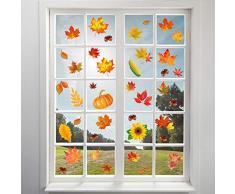 Omgouue 180 Stück Herbstblätter Fensterklammern – Erntedanksgiving, Ahorn-Dekorationen, Herbstaufkleber, Party-Dekoration, Dekoration