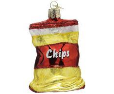 Old World Christbaumschmuck: Verschiedene Lebensmittel, Glas, geblasene Ornamente für Weihnachtsbaum Beutel mit Chips 3.250 Gelb, Rot, Weiß