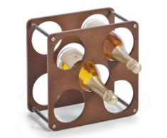 Zeller 13168 Weinregal für 5 Flaschen 1 Liter inklusive 4 Kunststoff-Verbindungsstücken, 30 x 30 x 17 cm