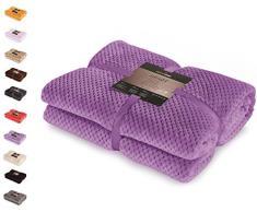 DecoKing 66119 Kuscheldecke 220x240 cm violett Decke Microfaser Wohndecke Tagesdecke Fleece weich sanft kuschelig skandinavischer Stil lila Henry
