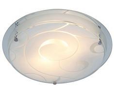 Globo Deckenleuchte eckig 1 x max. 60 W E27 ILLU Glas klar, satiniert, mit Dekor 22 x 22 cm 48062