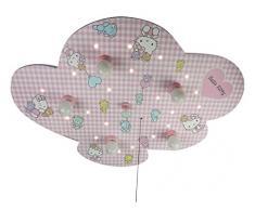 Niermann Standby 634 A++ to E, Deckenleuchte Hello Kitty, Holz, E14, rosa/weiß, 74 x 57 x 7 cm