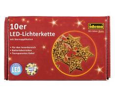 Idena 30110 - Dekolichterkette Stern mit 10 warm weißen LED und Timer, ca. 165 cm, Plastik, gold