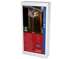 Konstsmide 3384-100 LED Dekoration Lichterbaum mit weißen Blättern 2,50m / für Außen (IP44) / 24V Außentrafo / 240 warm weiße Dioden / weißes Kabel