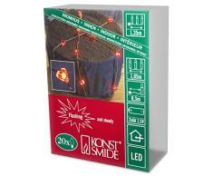 Konstsmide 1267-550 LED Dekolichterkette Herzen / für Innen (IP20) / Batteriebetrieben: 2xAA 1.5V (exkl.) / mit Blinklicht / 20 roten Dioden / flexibler Kupferdraht