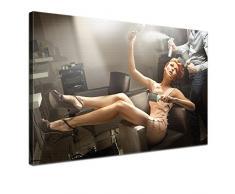 LANA KK - Leinwandbild Coiffeur Romantik & Erotik auf Echtholz-Keilrahmen – Fotoleinwand-Kunstdruck in braun, einteilig & fertig gerahmt in 100x70cm
