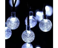 OxyLED Solar Lichterkette Außen mit 30 LED Weiß Außenlichterkette Wasserdicht mit Lichtsensor Weihnachtsbeleuchtung Beleuchtung für Innen, Garten, Hochzeit, Party, Weihnachten [Energieklasse A++]