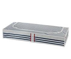 COMPACTOR Extra Flache Unterbettkommode, Anti-Staub, Blau und Weiß Marinière, Polypropylen und EVA, 45 x 100 x 15 cm, RAN5302