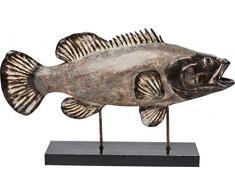 Kare Design Deko Objekt Pescado, Fisch Skulptur auf schwarzem Sockel, handgefertigtes Accessoire für Kommode und Sideboard, (H/B/T) 48x83x20cm
