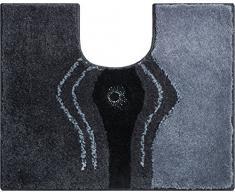 Grund Badteppich mit SWAROVSKI, 100% Polyacryl, ultra soft, rutschfest, CRYSTAL LIGHT, WC-Vorlage m.A. 50x60 cm, anthrazit