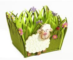 HEITMANN DECO - Filzkorb mit Schäfchen - Osternest - Dekoration für Ostern und Frühling - Tischdeko