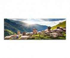 Panoramabild auf Leinwand und Keilrahmen 150x50cm Georgien Kaukasus Bergdorf Berge Wiese Sonne