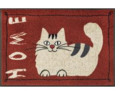 Wash + Dry Catty Home Fußmatte, Acryl, rot, 50 x 75 x 0.7 cm