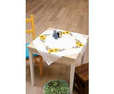 Vervaco Tischdecke Sonnenblümchen bedruckte Decke mit Webrand, Baumwolle, Mehrfarbig, 80.0 x 80.0 x 0.30000000000000004 cm, 1 Einheiten