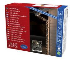 Konstsmide 3645-110 Micro LED Lichterkette / für Außen (IP44) / VDE geprüft / 24V Außentrafo / 500 warm weiße Dioden / schwarzes Kabel