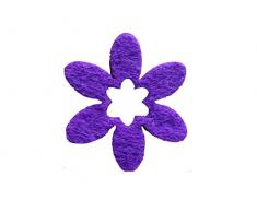 Petras Bastel News A-BLF1516-43 Streudeko, 100 x Blume 40mm, Filz/lila