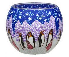 Himmlische Düfte Geschenkartikel CC203 Tischdekoration, Pinguin Windlicht Glas 11 x 11 x 9 cm, bunt