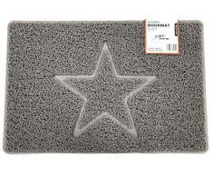 Nicoman Spaghettimatten Fußmatte für den Eingangsbereich|Robuste Schmutzfangmatte aus Vinylschlingen|Innen und Aussen | Geprägt Star【60x40cm, Klein】,Grau