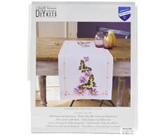 Vervaco Aida Läufer Schmetterling Kreuzstichpackung, Weiß, 32 x 84 x 0,3 cm