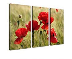 LANA KK - Leinwandbild Mohnblumen mit Blumen auf Echtholz-Keilrahmen – Frühling und Natur Fotoleinwand-Kunstdruck in rot, dreiteilig & fertig gerahmt in 120x80cm