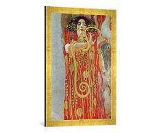 Gerahmtes Bild von Gustav Klimt Medizin, Kunstdruck im hochwertigen handgefertigten Bilder-Rahmen, 50x70 cm, Gold raya