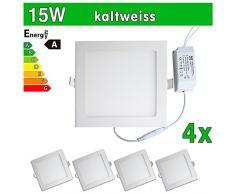 LEDVero 4x Ultraslim LED Panel SMD 2835, 15 W, eckig Deckenleuchte Lampe Einbau Leuchte Licht Strahler, kaltweiß SP200