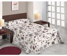 SABANALIA Love Bedruckte Tagesdecke, Baumwolle und Polyester Cama de 135-230 x 280 cm bunt